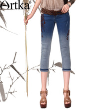 Artka 2015 женская ретро новая коллекция осеней одежды высококачественный элегантный светло-синий хлопоковый прохладный джинсовый капри KN11244C