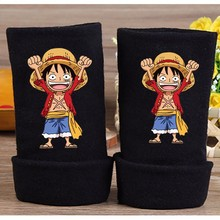 2017 Fashion Winter Anime One Piece Luffy Cotton Glove Fingerless Cartoon Print Gloves Unisex Mitten Cosplay Gift