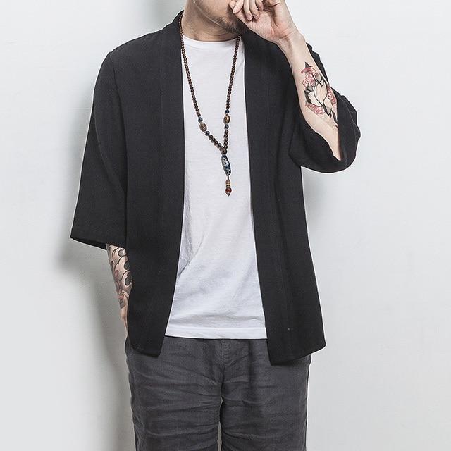 MRDONOO Abbigliamento Uomo Giacche Apri Stitch Giappone Stile Cinese Tradizionale Vestiti Slim Fit Casual Antivento Cappotti A032-1805