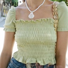 купить TXJRH Sweet Elastic Girdle Type Ruched Waist Shirt Square Neck Wood Ears Short Puff Sleeve Ruffle Hem Crop Blouse Tops 2 Color по цене 854.81 рублей