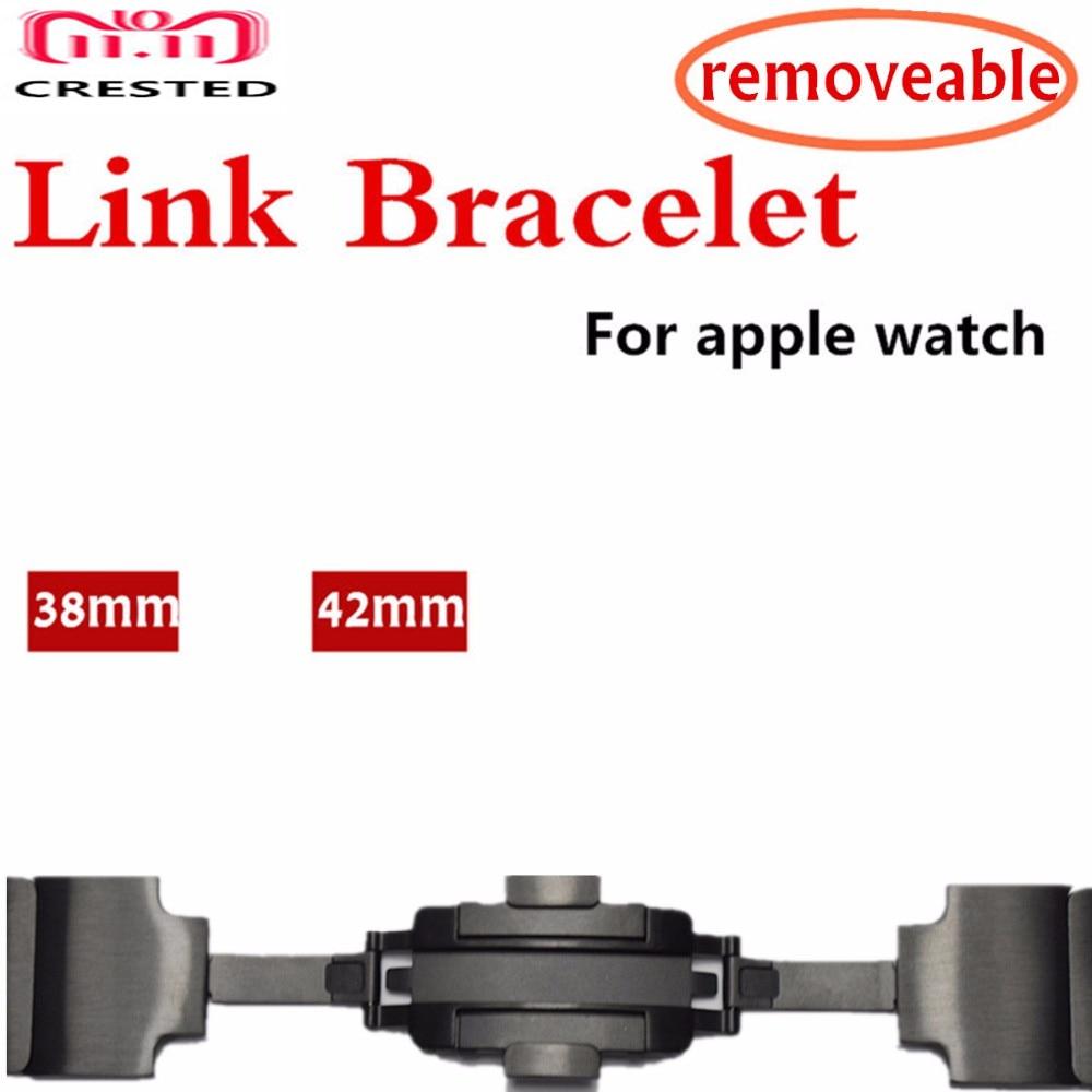 CRESTED Stainless Steel link bracelet For apple watch band 44MM/40MM strap iwatch 3 2 1 42mm 38mm Wrist Removable bracelt belt цена