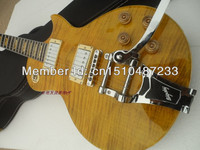 Free shipping yellow color Guitarra Wholesale New Standard/oem Lp Guitar with Flame Top//big tremolo guitar In China