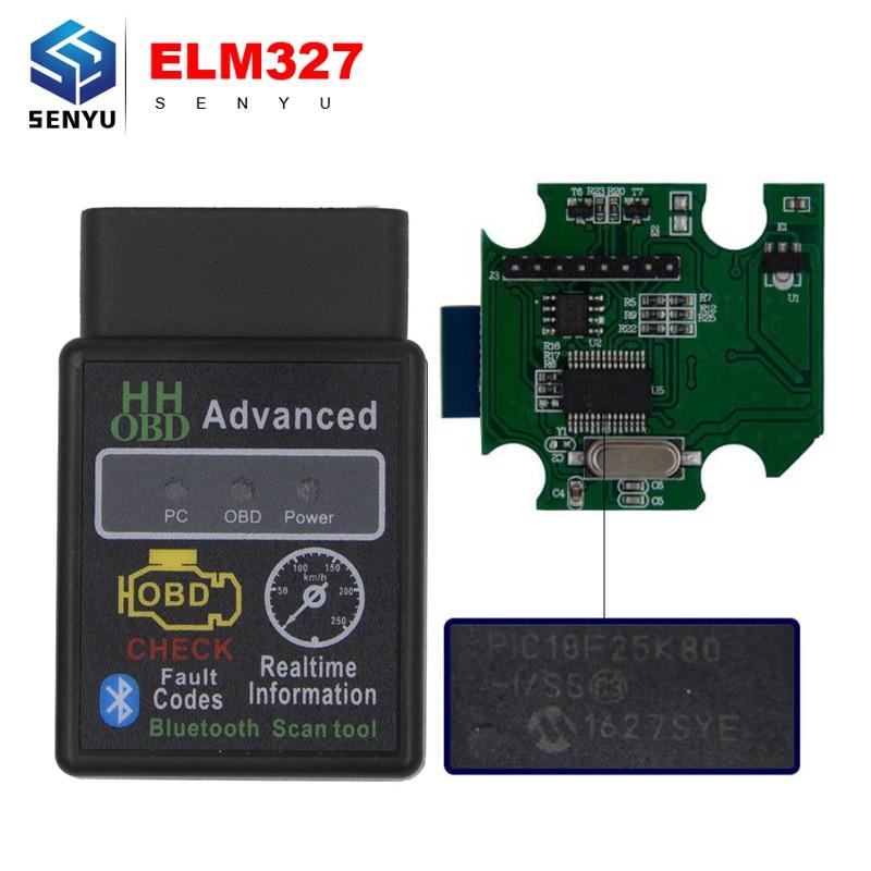 Prix pour V1.5 ELM327 Bluetooth PIC18F25K80 HH OBD elm 327 1.5 OBD2 Scanner pour Couple Android Lecteur de Code Diagnostic Works Multi-voitures