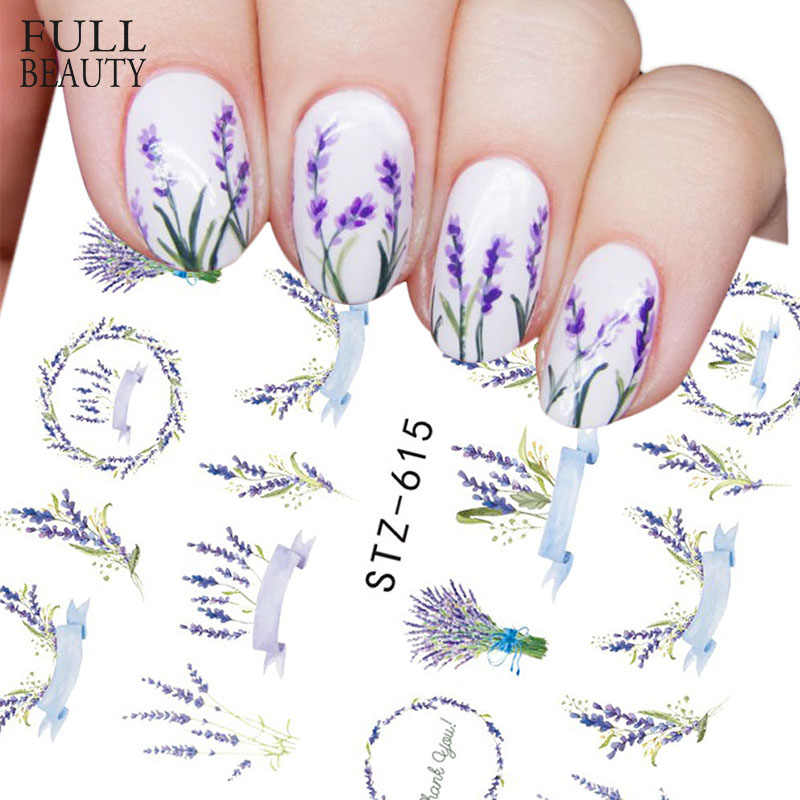 Full Beauty 1 Sheet Flower Nail Sticker Purple Lavender Nail Water Transfer Decal Nail Art Decoration DIY Manicure CHSTZ615-658
