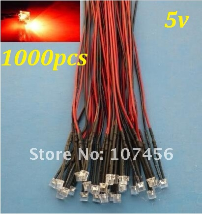Free Shipping 1000pcs Flat Top Red LED Lamp Light Set Pre-Wired 5mm 5V DC Wired 5mm 5v Big/wide Angle Red Led