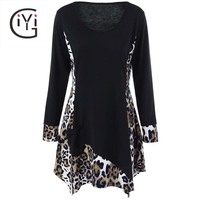 GIYI Plus Size 5XL Leopard Trim Tunic Long T Shirt Women Autumn 2017 Long Sleeve Asymmetrical