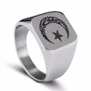 Image 5 - Anello musulmano in acciaio inossidabile per uomo Islam moon star anello color oro e argento