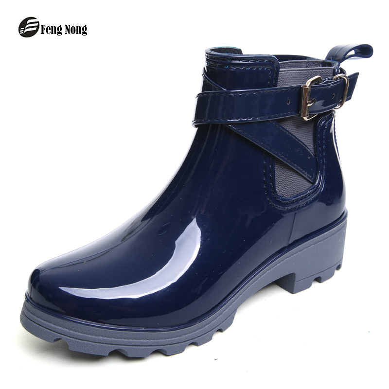 Fengnong New Rain Boots Warm Buckle Platform Slip On Pvc Waterproof  Motorcycle Bowtie Ankle Flat With Woman Shoes w013
