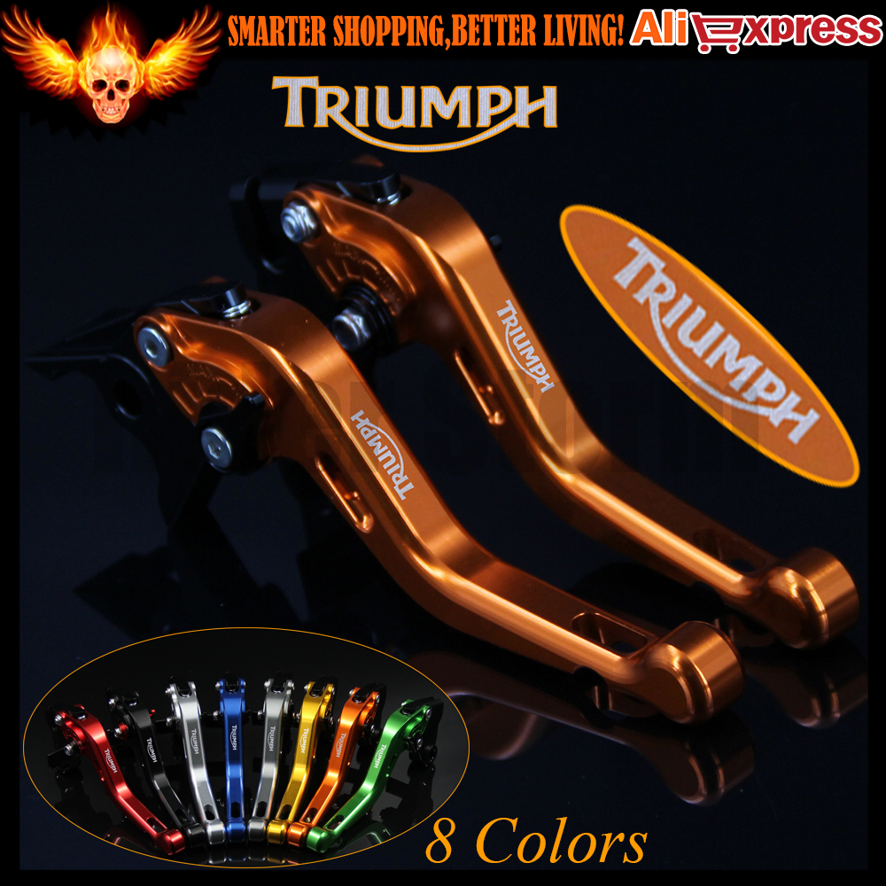 ФОТО New Yellow 8 Colors CNC Aluminum Motorcycle Short Brake Clutch Levers For Triumph SPEED TRIPLE R 2012 2013 2014 2015