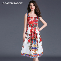 Coated Rabbit Summer Dress 2017 Vintage Rockabilly Dress Jurken 60s 50s Retro Floral Pinup Women Audrey