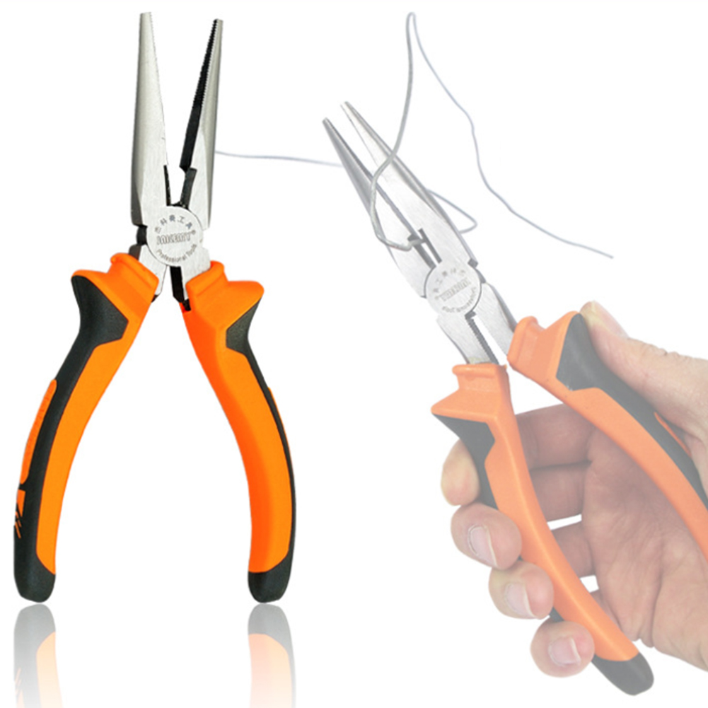 6 Inches Stainless Steel Needle Nose Plier Flat Long Nose Pliers High Quality Household Hardware Tools Wire Cable Cutters itechor 8 inch 200mm flat nose glass cutting nipping running pliers household hand tool black handle