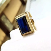 18K Gold Ring Natural and Real Sapphire Man Ring Fine jewelry Natural Sapphire Man Ring 11*16mm