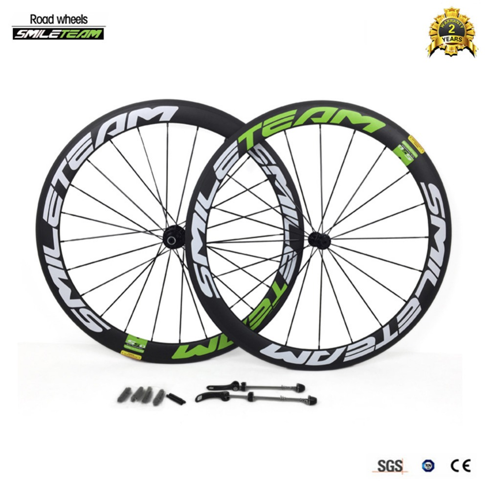 Smileteam 2017 New Carbon Road wheelset 50mm Road Bike Wheels 700C Clincher Bike Road Carbon Wheels with 23mm Width Matte Finish smileteam 700c 50mm clincher carbon road bike wheels 23mm width 3k matte carbon racing bicycle wheelset powerway r13 r36 hubs