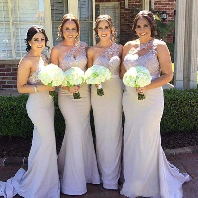 One Shoulder Mermaid Lilac   Bridesmaid     Dresses   Long 2019 Lace Appliqued Maid of Honor Prom Party Gowns Fashion Guest   Dresses