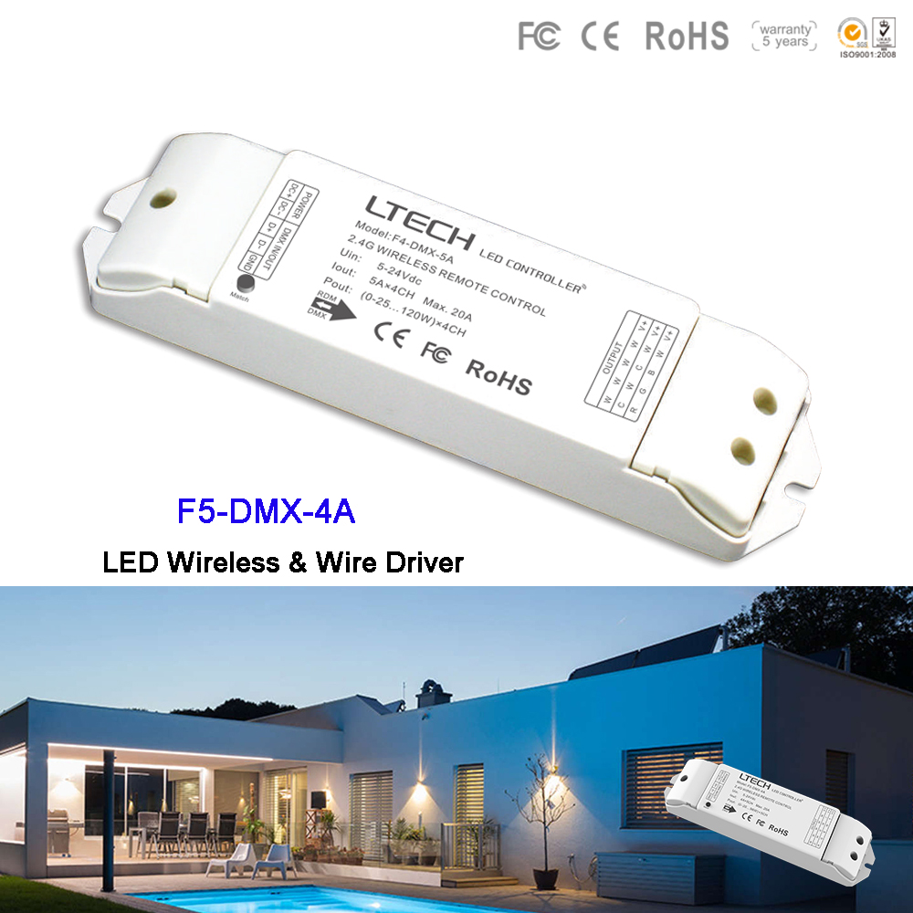 LTECH F5-DMX-4A DC5-24V Led Wireless Driver controller  RF 2.4GHz work with EX touch panel Dimming/CT/RGB/RGBW Led Strip LightLTECH F5-DMX-4A DC5-24V Led Wireless Driver controller  RF 2.4GHz work with EX touch panel Dimming/CT/RGB/RGBW Led Strip Light
