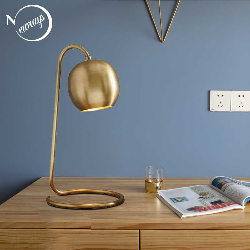 Modern Nordic copper plated retro table lamp art decoration table lamp simple reading LED E14 learning cafe restaurant shop