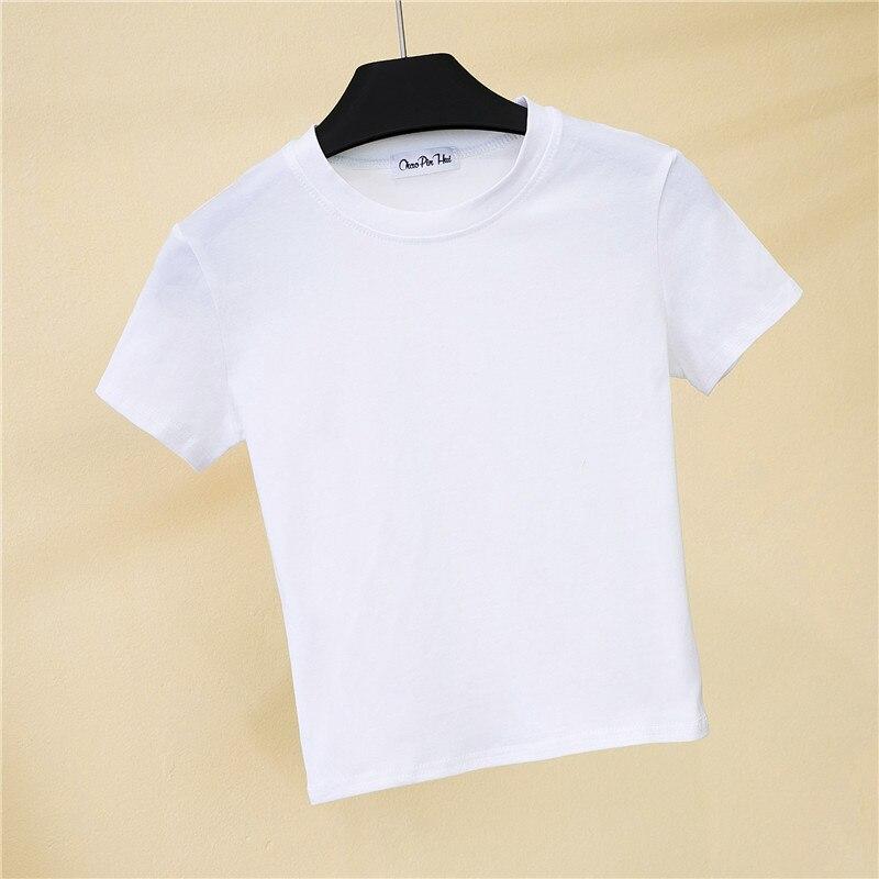 Crop koszulka top kobieta trwała bawełna O-Neck z krótkim rękawem t-shirty dla kobiet wysoka talia szczupła krótka, sportowa koszulka Blanc Femme 5