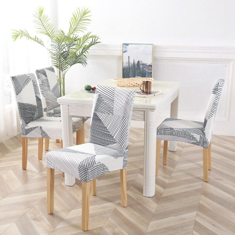 Housse de chaise de salle à manger Spandex 4/6 PCS housse de siège de cuisine Anti-sale housse de chaise sans bras extensible pour Banquet housse de chaise