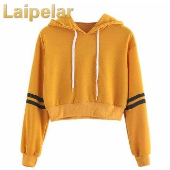 Women Autumn Sweatshirt Hoodies Striped Long Sleeve Sudadera Mujer Deporte Jumper Harajuku Yellow Crop Top Laipelar