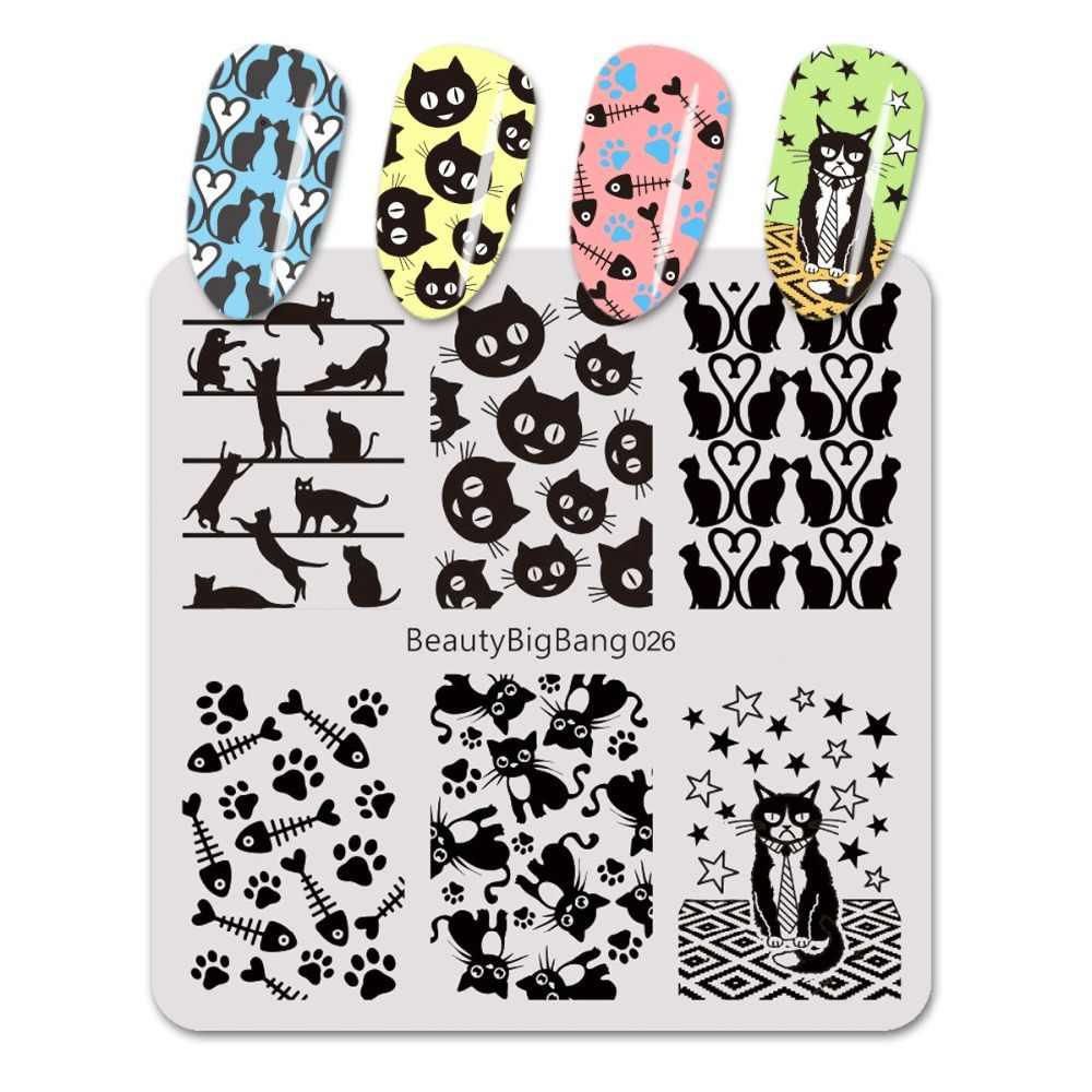 BeautyBigBang 6 centimetri Gatto Animale Manicure Modello Che Timbra Il Piatto Per Nail Polish Unghie Artistiche Timbro Stencil Template Stamping BBB026