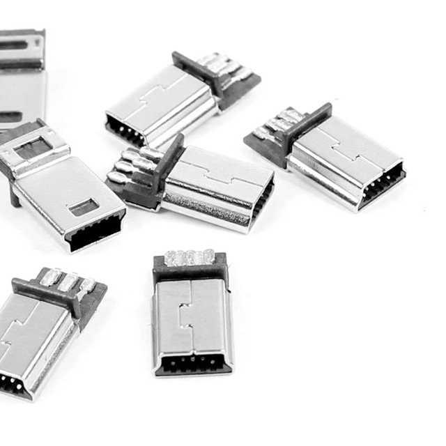 Ksol nowy styl 10 sztuk mini usb 5 pin smt złącze wtyk męski diy srebrny tone ciemnoszary