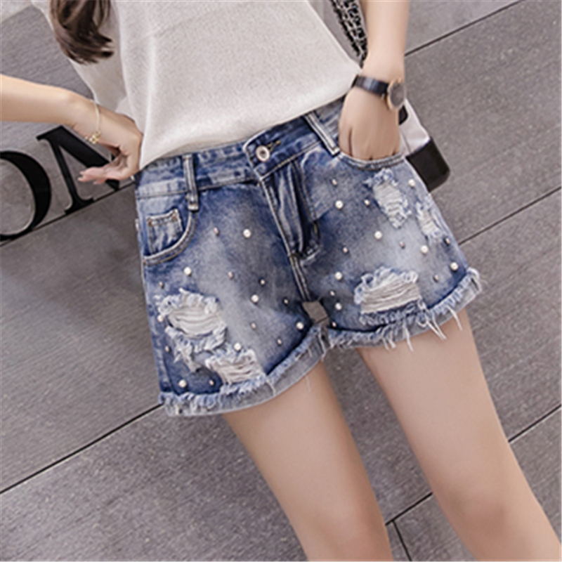 Female Blue High Waist HOT Pearl Denim   Shorts   With Pockets Ripped Burr Hole Jeans   Shorts   BF Summer 2018 Women Plus size Korea
