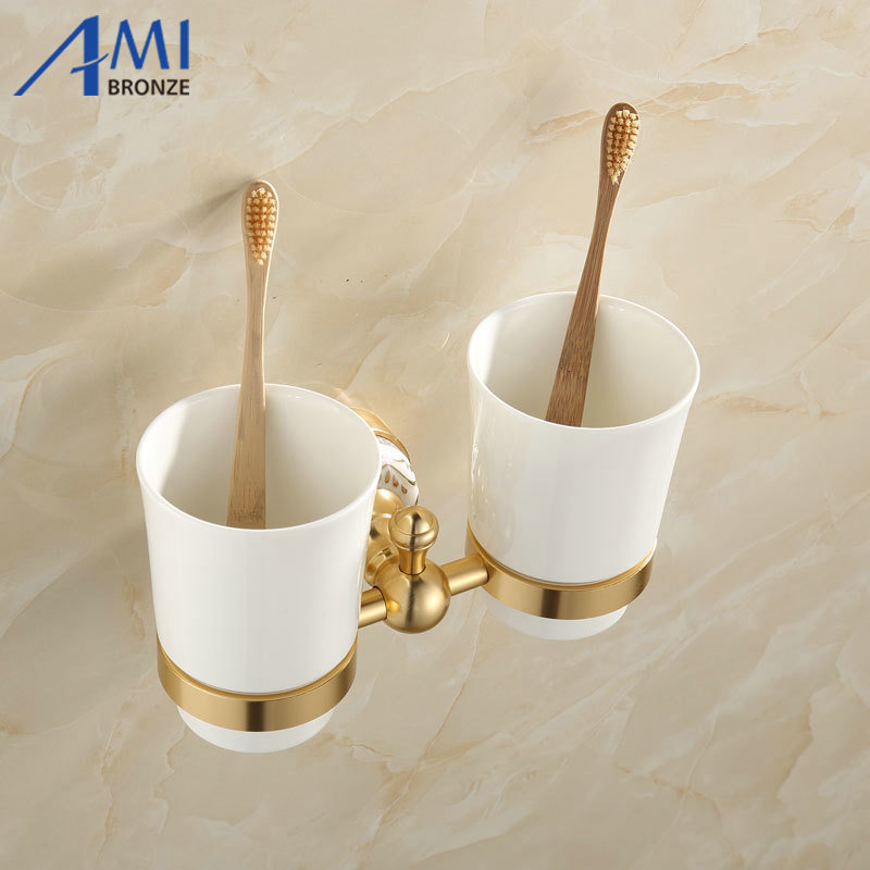 ФОТО 31GAP Series Golden Polished Antique & Porcelain Base Cup & Tumbler Toothbrush Holder 2 Cups holder  Bathroom Accessories