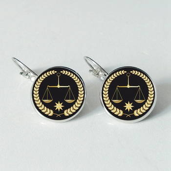 Unique justice referee glass earrings delicate balance earrings convex round fashion ear jewelry image