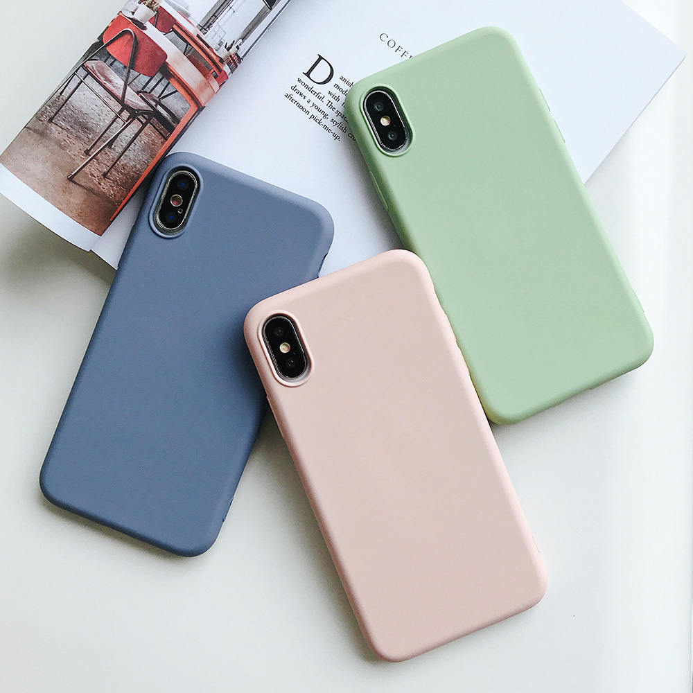 KIPX1124_9_JONSNOW Pure Color Silicone Case for iPhone XS XR XS Max 6 6S 6P 7 8 Plus Ultra-thin Matte Dirt-resistant Soft TPU Solid Cover