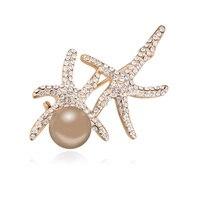 Animal Brooch Starfish Design Pearl Crystal Brooches For Wedding Bride Wedding Brooch Luxury Jewelry Pins Vintage