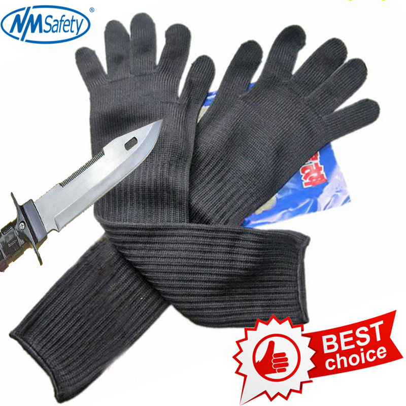 NMSAFETY երկար կտրվածքով դիմացկուն աշխատանքային ձեռնոցներ չժանգոտվող պողպատե մետաղալարով պաշտպանական անվտանգության ձեռնոցներով