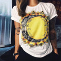 Sun Flower T-Shirt Floral Ladies Graphic Tee Tops Fashion Style Punk Rave Tshirts Cotton Women Clothing Freeshipping & Wholesale
