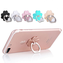 Luxury Metal Finger Ring Holder Lucky Grass Leaf Clover Smartphone Mobile Phone Finger Stand Holder For iPhone X 8 Samsung S9 S8