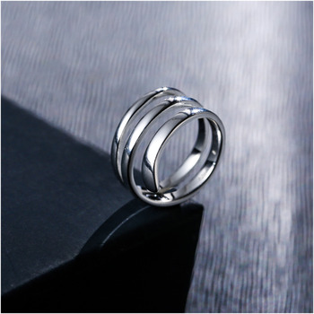 Shineland S925 Sterling Silver Simple Ring For Women Fine Jewelry Triple Adjustable Size Open Ring Anel de Prata Bague en argent 1