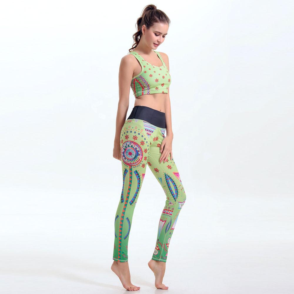 2016 Hot Sale Female Yuga Clothes Suit Vest Leggings Color Printing Elastic Women Bras+Exercise Pants Sweat Suit Vetement Femme