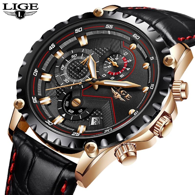 Mens Watches Top Brand Luxury LIGE Quartz Watch Men Sport Chronograph Military Leather Strap Male Watches relogio masculino lige horloge 2017