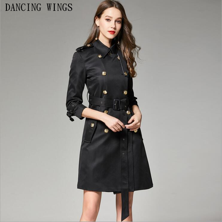 Fashion Designer Brand Classic   Trench   Coat Black Double Breasted Ladies Office Coat Casual Windbreaker