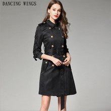 Fashion Designer Brand Classic Trench Coat Black Double Breasted Ladies Office C