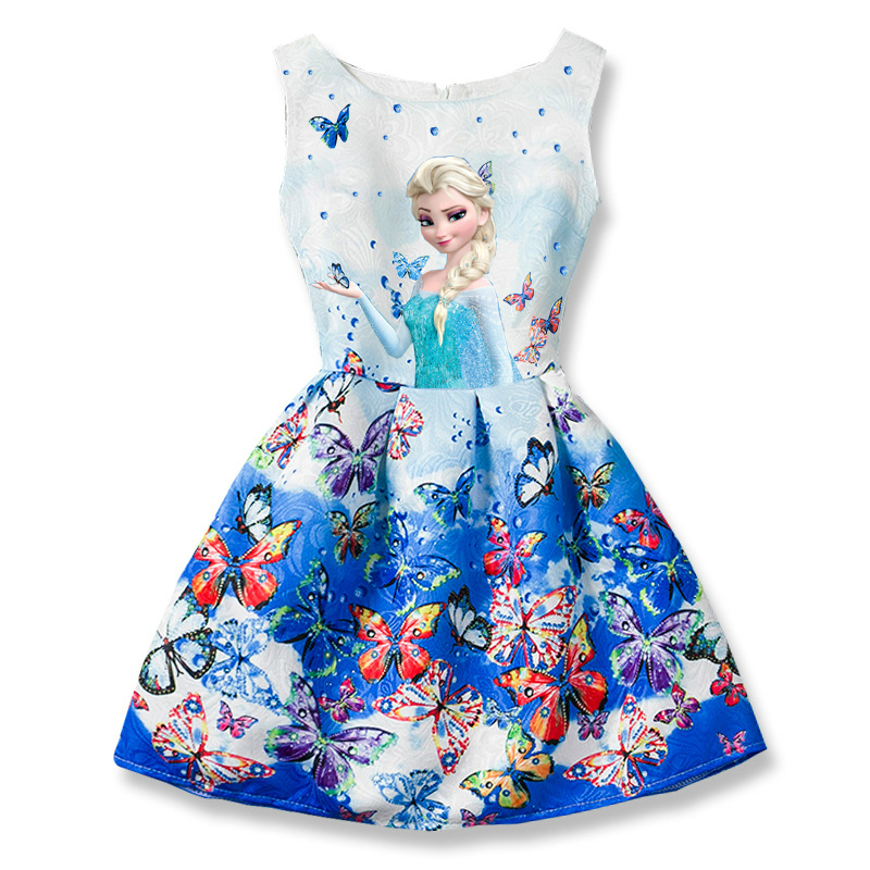 Snow Queen Elsa Dresses Sleeveless Butterfly Flower Dress for Girls Princess Anna Elsa Dress Teenagers Clothes Elza Costume