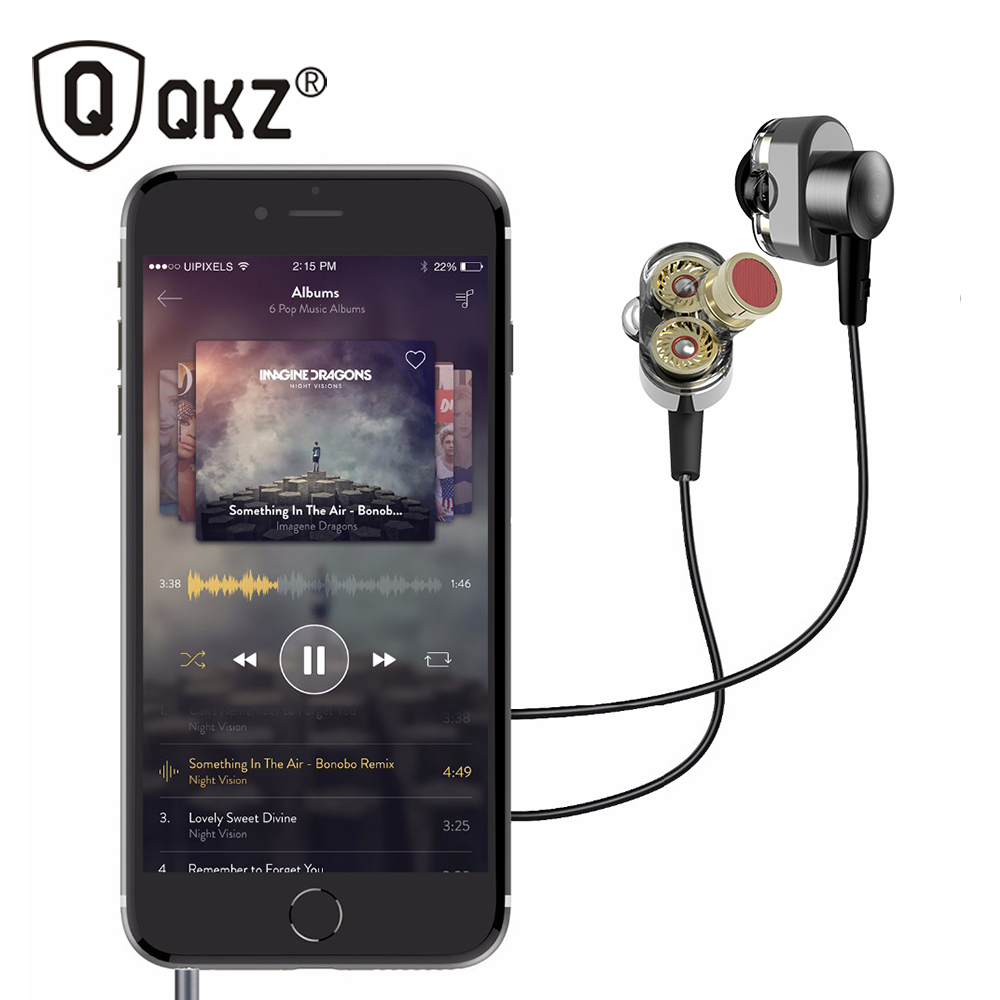 QKZ KD2 Earphones Dual Driver  fone de ouvido auriculares Original hybrid dual dynamic driver in-ear earphone mp3 DJ Headset original senfer dt2 ie800 dynamic with 2ba hybrid drive in ear earphone ceramic hifi earphone earbuds with mmcx interface