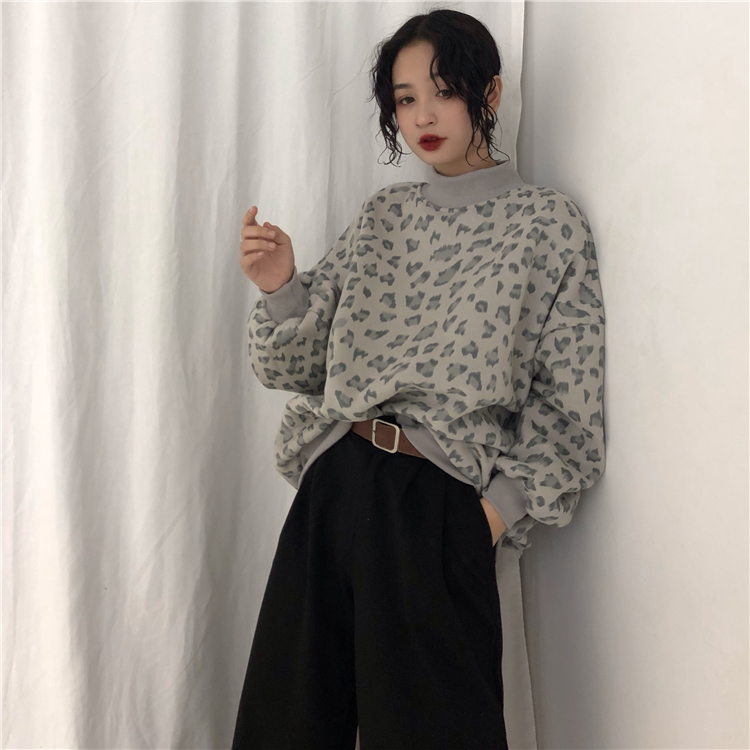 Stand Hoodies Sweatshirts Batwing Women Korean Bf Loose gray pink Clothing Leopard Sleeve Women's Harajuku Autumn Apricot New Hipster Vinatge 8qwISfH
