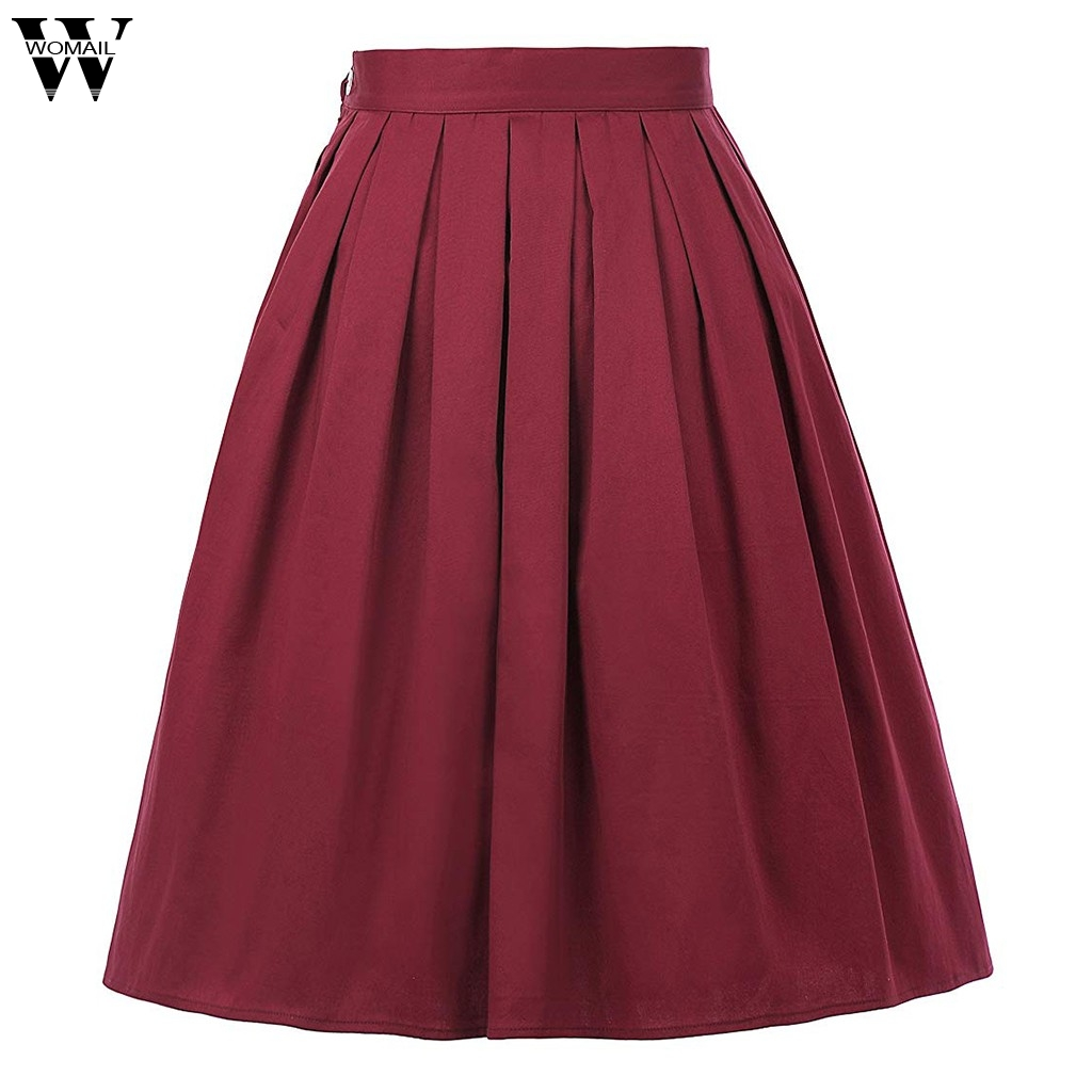 Womail Skirt Women Summer Fashion Tutu Waist Skirt Half-Length Sold Color Skirt High Waist Skirt Casual NEW 2019 Dropship M27
