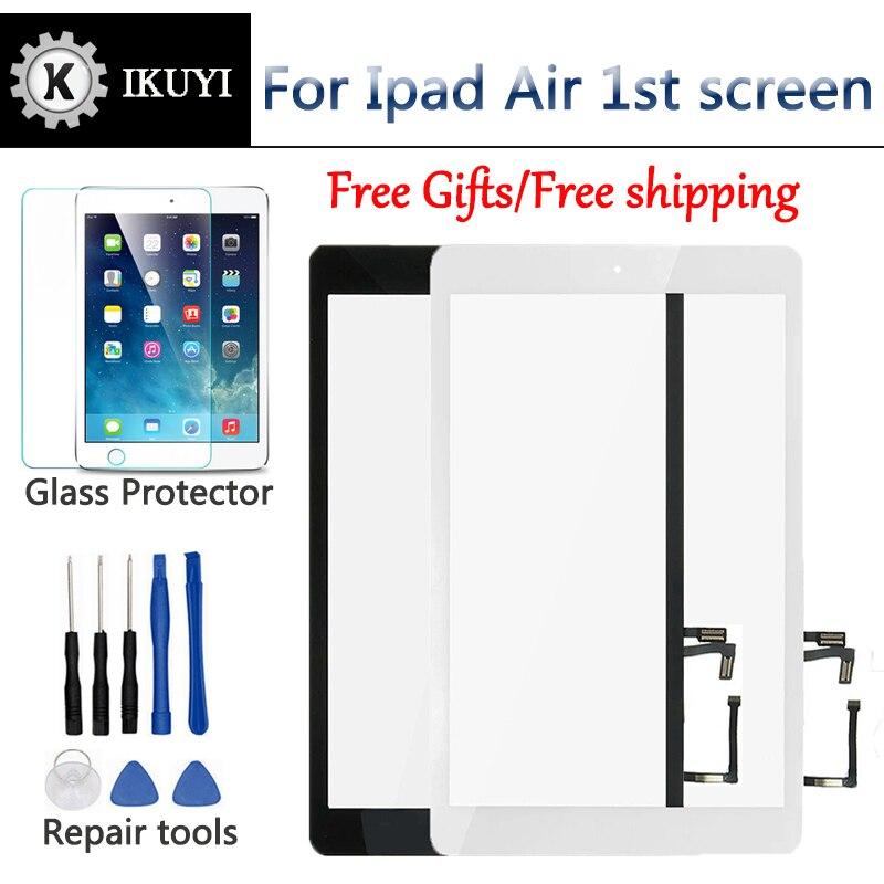 Bilgisayar ve Ofis'ten Tablet LCD'ler ve Paneller'de Yeni iPad hava 1 için iPad 5 dokunmatik ekran digitizer ve ev düğmesi ön cam ekran dokunmatik Panel değiştirme A1474 A1475 A1476 title=