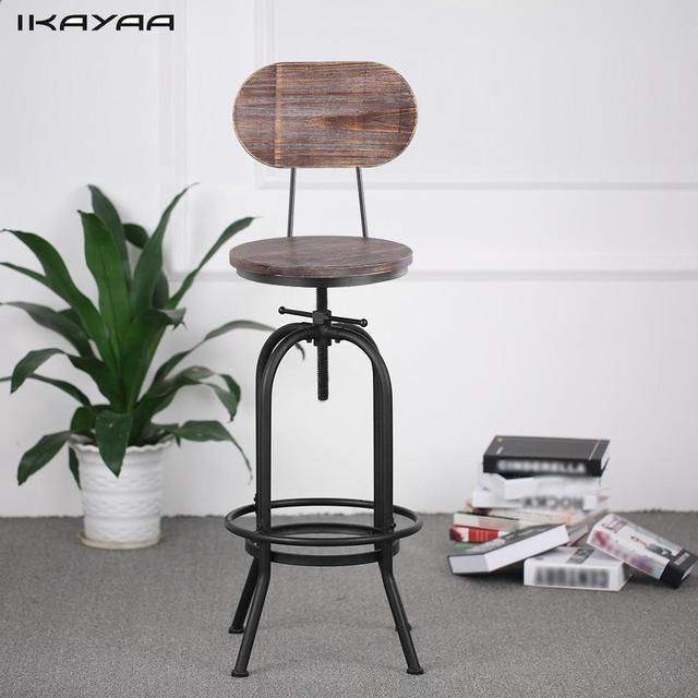 Us 67 1 45 Off Ikayaa Industrial Style Bar Stool Height Adjustable Swivel Chair Pinewood Top With Backrest Home Bar Furniture Us Fr De Stock In Bar