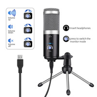 2019 Professional PC Microphone Condenser Mic Set USB Plug for YouTube Facebook Live Stream Broadcasting Recording Gaming Micro