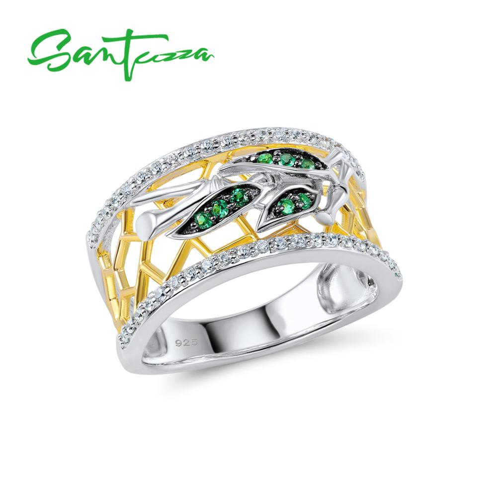 SANTUZZA Silver Rings For Woman Sparkling Green Spinels White Cubic Zirconia Genuine 100% 925 Sterling Silver Ring Fine Jewelry
