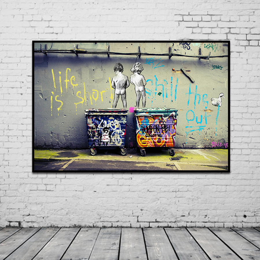 """HTB1LBEeXtfvK1RjSspoq6zfNpXaJ Banksy Graffiti Art Abstract Canvas Painting Posters and Prints """"Life Is Short Chill The Duck Out"""" Wall Canvas Art Home Decor"""