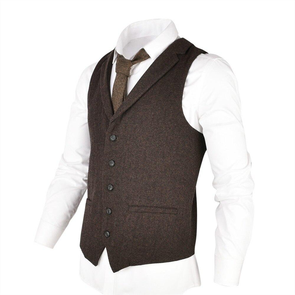 VOBOOM Woolen Tweed Suit Vest For Men Herringbone Slim Fit Premium Wool Blend  Single-breasted Waistcoat Coffee Brown 018