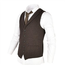 VOBOOM Woolen Tweed Suit Vest for Men Herringbone Slim Fit Premium Wool Blend  Single breasted Waistcoat Coffee Brown 018