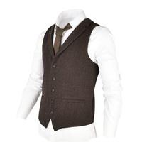 VOBOOM Woolen Tweed Suit Vest for Men Herringbone Slim Fit Premium Wool Blend Single breasted Waistcoat Coffee Brown 018
